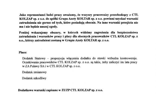 Stanowisko Związków Zawodowych w sprawie KOLTAR