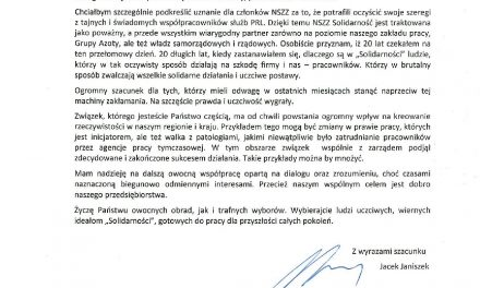Pismo Prezesa Janiszka zaprezentowane na WZD