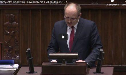 Oświadczenie posła RP Krzysztofa Szulowskiego