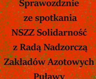 Sprawozdanie ze spotkania NSZZ  Solidarność z Radą Nadzorczą GA ZAP SA
