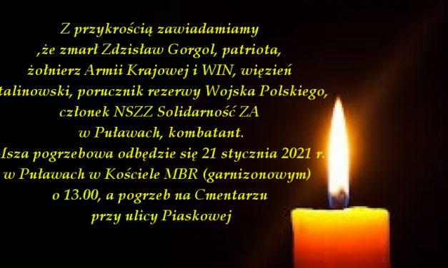 Nekrolog i wspomnienie o Ś.P. poruczniku Zdzisławie Gorgolu